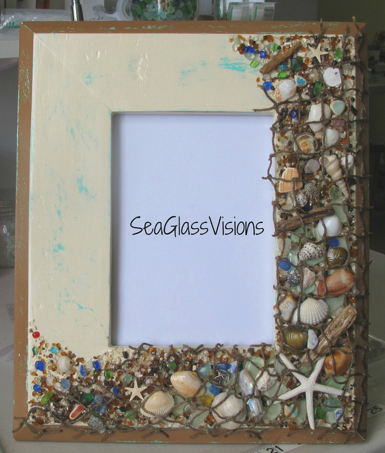 """Mermaid's Catch"" handcrafted frame by SeaGlassVisions"