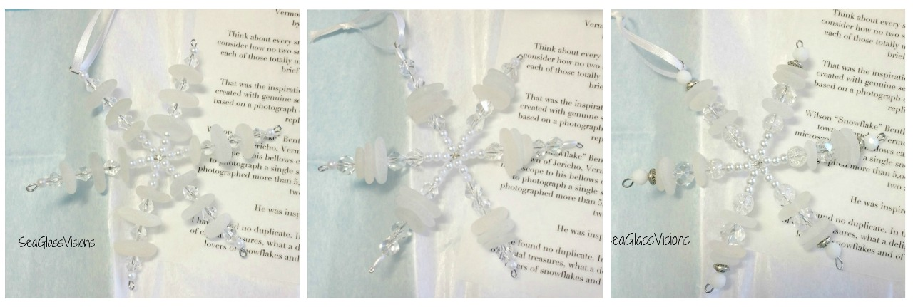Lovely Handmade Sea Glass Snowflake Ornaments by Sea Glass Visions