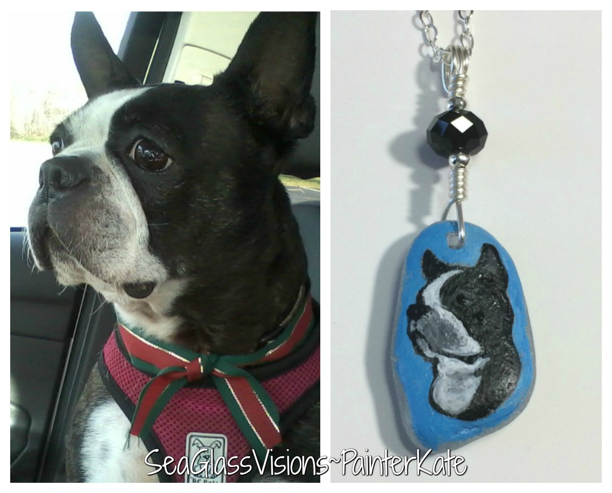 Fabulous hand painted pet portrait on genuine sea glass.
