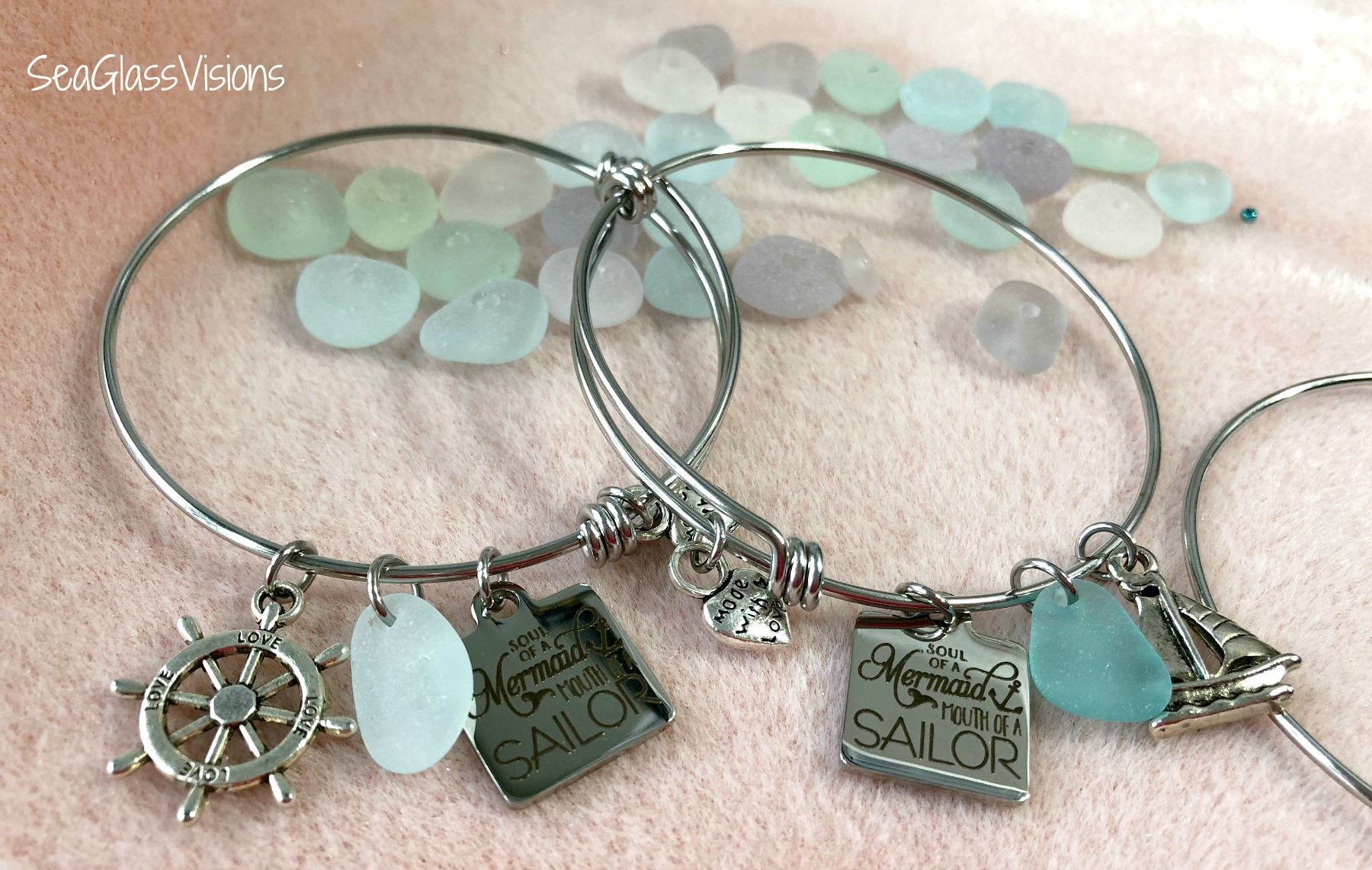 Genuine Sea Glass and Mermaid Bracelets by Sea Glass Visions