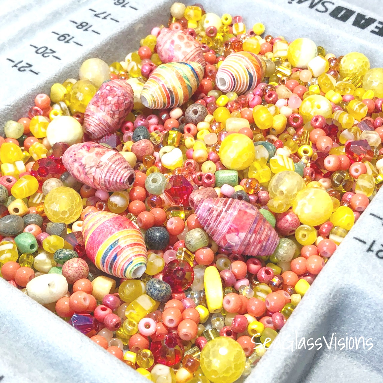 Colorful Bead Mix including Yellow & Pink Sea Glass and Handmade Paper Beads by Sea Glass Visions